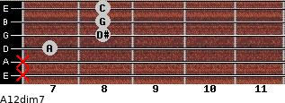 A1/2dim7 for guitar on frets x, x, 7, 8, 8, 8