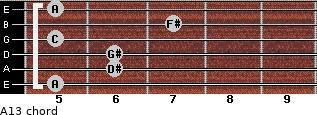 Aº13 for guitar on frets 5, 6, 6, 5, 7, 5