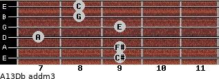 A13/Db add(m3) guitar chord