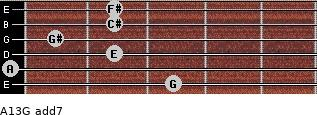 A13/G add(7) for guitar on frets 3, 0, 2, 1, 2, 2