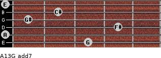 A13/G add(7) for guitar on frets 3, 0, 4, 1, 2, 0