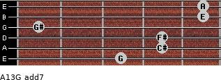 A13/G add(7) for guitar on frets 3, 4, 4, 1, 5, 5