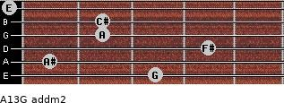 A13/G add(m2) for guitar on frets 3, 1, 4, 2, 2, 0