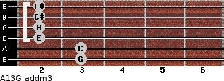 A13/G add(m3) for guitar on frets 3, 3, 2, 2, 2, 2