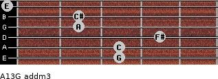 A13/G add(m3) for guitar on frets 3, 3, 4, 2, 2, 0
