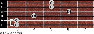 A13/G add(m3) for guitar on frets 3, 3, 4, 6, 5, 5