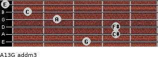 A13/G add(m3) for guitar on frets 3, 4, 4, 2, 1, 0