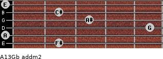 A13/Gb add(m2) for guitar on frets 2, 0, 5, 3, 2, 0