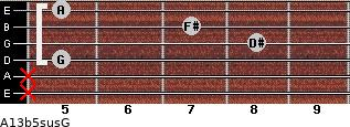 A13b5sus/G for guitar on frets x, x, 5, 8, 7, 5
