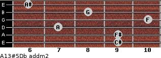 A13#5/Db add(m2) guitar chord