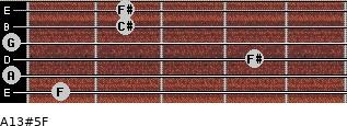 A13#5/F for guitar on frets 1, 0, 4, 0, 2, 2