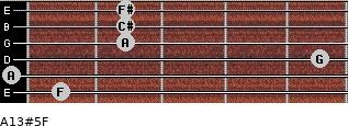 A13#5/F for guitar on frets 1, 0, 5, 2, 2, 2