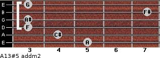 A13#5 add(m2) for guitar on frets 5, 4, 3, 3, 7, 3