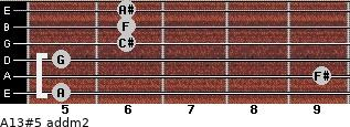 A13#5 add(m2) for guitar on frets 5, 9, 5, 6, 6, 6