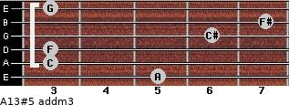 A13#5 add(m3) for guitar on frets 5, 3, 3, 6, 7, 3