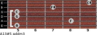 A13#5 add(m3) for guitar on frets 5, 8, 5, 5, 7, 9