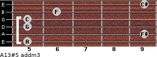 A13#5 add(m3) for guitar on frets 5, 9, 5, 5, 6, 9