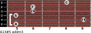 A13#5 add(m3) for guitar on frets 5, 9, 5, 6, 6, 8