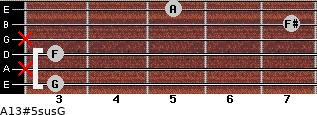 A13#5sus/G for guitar on frets 3, x, 3, x, 7, 5