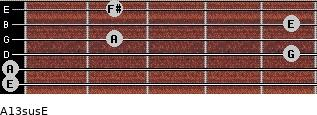 A13sus/E for guitar on frets 0, 0, 5, 2, 5, 2