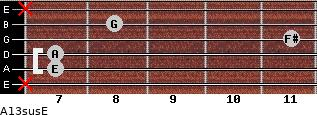 A13sus/E for guitar on frets x, 7, 7, 11, 8, x