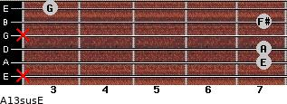 A13sus/E for guitar on frets x, 7, 7, x, 7, 3