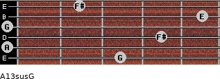 A13sus/G for guitar on frets 3, 0, 4, 0, 5, 2