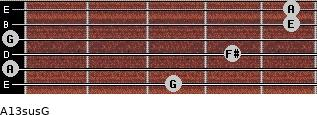 A13sus/G for guitar on frets 3, 0, 4, 0, 5, 5