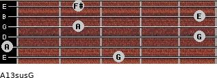 A13sus/G for guitar on frets 3, 0, 5, 2, 5, 2