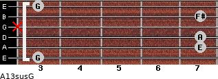 A13sus/G for guitar on frets 3, 7, 7, x, 7, 3