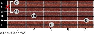 A13sus add(m2) for guitar on frets 5, 7, 4, 3, x, 3