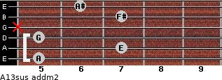A13sus add(m2) for guitar on frets 5, 7, 5, x, 7, 6