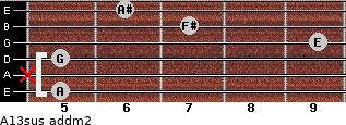 A13sus add(m2) for guitar on frets 5, x, 5, 9, 7, 6