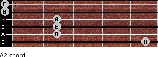 A2 for guitar on frets 5, 2, 2, 2, 0, 0