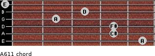 A6/11 for guitar on frets 5, 4, 4, 2, 3, 0