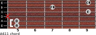A6/11 for guitar on frets 5, 5, x, 9, 7, 9