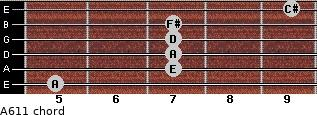 A6/11 for guitar on frets 5, 7, 7, 7, 7, 9