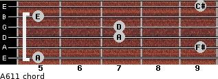 A6/11 for guitar on frets 5, 9, 7, 7, 5, 9