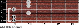A6/11/Db add(m3) guitar chord