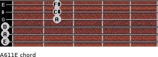 A6/11/E for guitar on frets 0, 0, 0, 2, 2, 2
