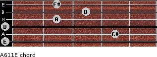 A6/11/E for guitar on frets 0, 4, 0, 2, 3, 2