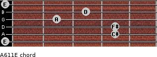 A6/11/E for guitar on frets 0, 4, 4, 2, 3, 0
