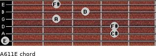 A6/11/E for guitar on frets 0, 4, 4, 2, 3, 2