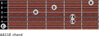A6/11/E for guitar on frets 0, 4, 4, 2, 3, 5