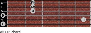 A6/11/E for guitar on frets 0, 5, 0, 2, 2, 2