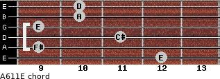 A6/11/E for guitar on frets 12, 9, 11, 9, 10, 10
