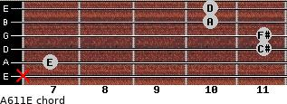 A6/11/E for guitar on frets x, 7, 11, 11, 10, 10