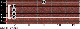 A6/11/E for guitar on frets x, 7, 7, 7, 7, 9