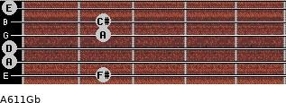 A6/11/Gb for guitar on frets 2, 0, 0, 2, 2, 0
