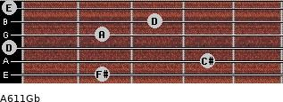 A6/11/Gb for guitar on frets 2, 4, 0, 2, 3, 0